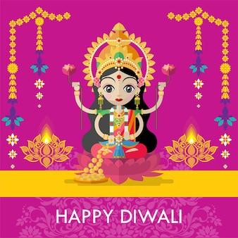 Happy diwali festival card with diya and hindu goddess lakshmi