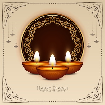 Happy diwali festival celebration background with lamps vector
