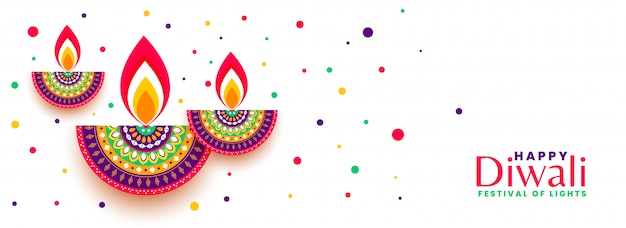 Happy diwali festival celebration colorful banner