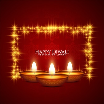 프레임과 촛불 해피 디 왈리 축제 축하 빨간색 인사말 카드