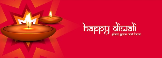Happy diwali festival colorful banner or header