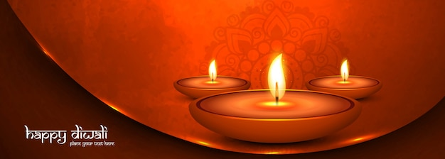 Happy diwali festival colorful banner or header