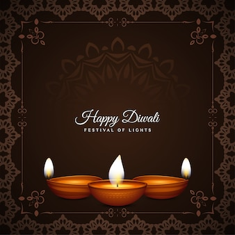 Happy diwali festival decorative frame ethnic background