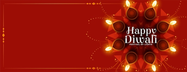 Happy diwali festival diya banner with text space