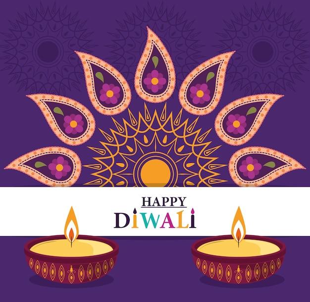 Happy diwali festival, diya lamps candles floral mandala flower decoration