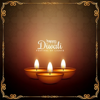 Happy diwali festival elegant frame background