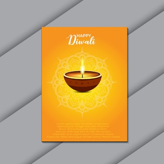 Happy diwali festival flyer design with one diya candle