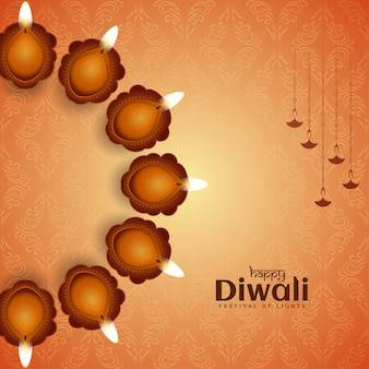 Happy diwali festival greeting background with lamps
