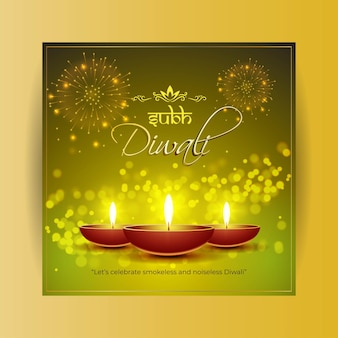 Happy diwali festival greeting banner vector illustration.