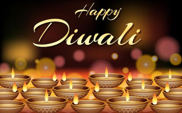 Happy diwali festival greeting card