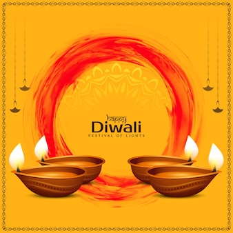 Happy diwali festival greeting ethnic background with lamps
