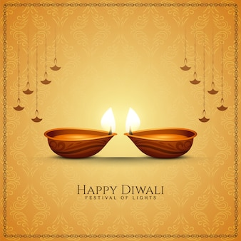 Happy diwali festival greeting soft brown background