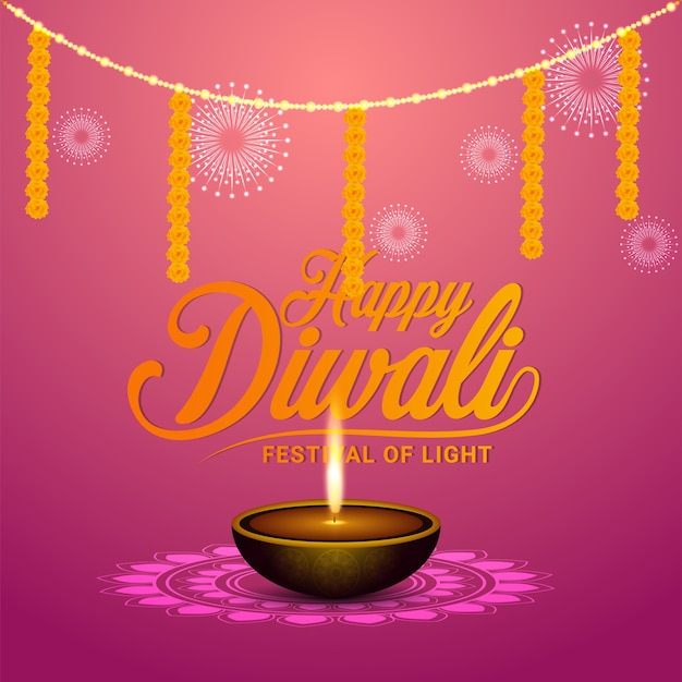Happy diwali festival of light background and greeting card