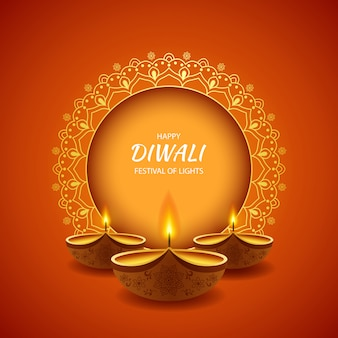 Happy diwali festival of light background with diya lamp.