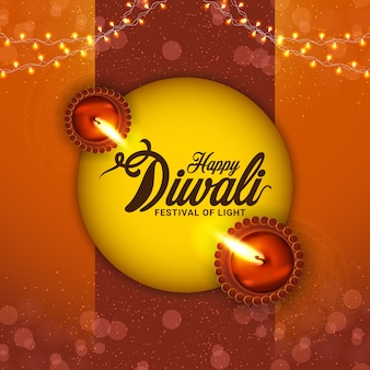 Happy diwali festival of light and background