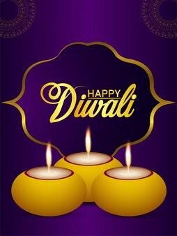 Happy diwali festival of light celebration flyer with creative diwali diya