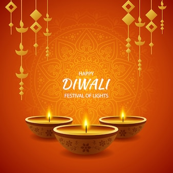 Happy diwali festival of light celebration