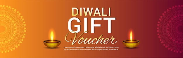 Happy diwali festival of light gift voucher background