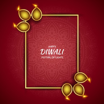 Happy diwali festival of light, greeting card