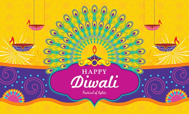 Happy diwali (festival of light) greeting card
