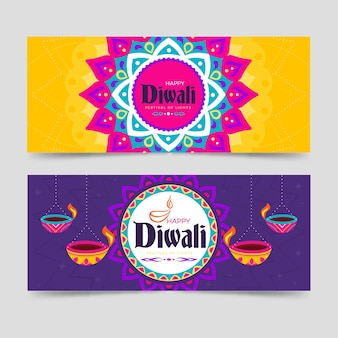 Happy diwali festival of lights banners