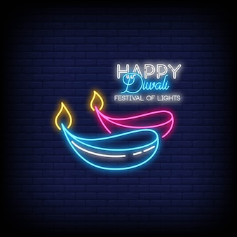 Happy diwali festival of lights neon signs style text