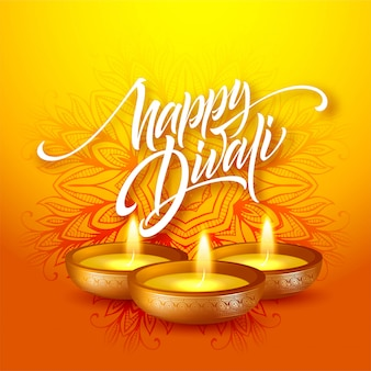 Happy diwali festival of lights. retro oil lamp on mandala background. calligraphy hand lettering text.