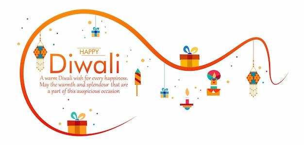 Happy diwali festival of lights vector illustration and beautiful greeting card minimal design