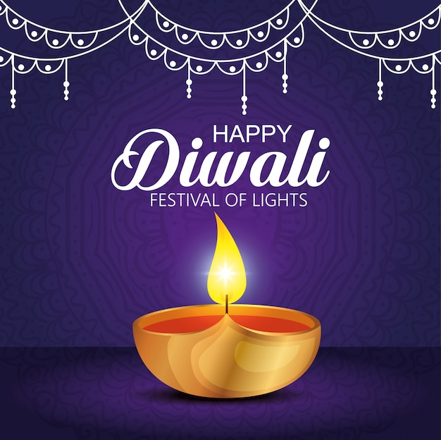 Happy diwali festival of lights with candle