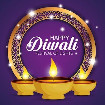 Happy diwali festival of lights with candles