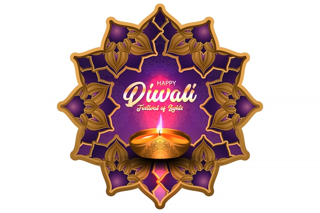 Happy diwali festival of lights with gold oil lamp illustration