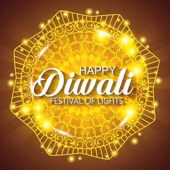 Happy diwali festival of lights with shiny mandala