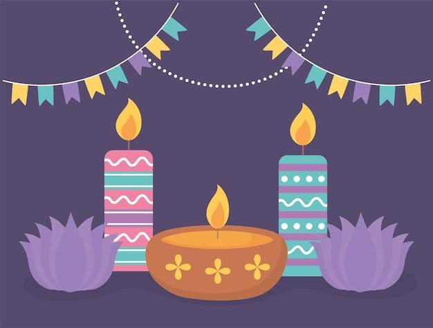 Happy diwali festival, lotus flowers candles and diya lamp celebration,.