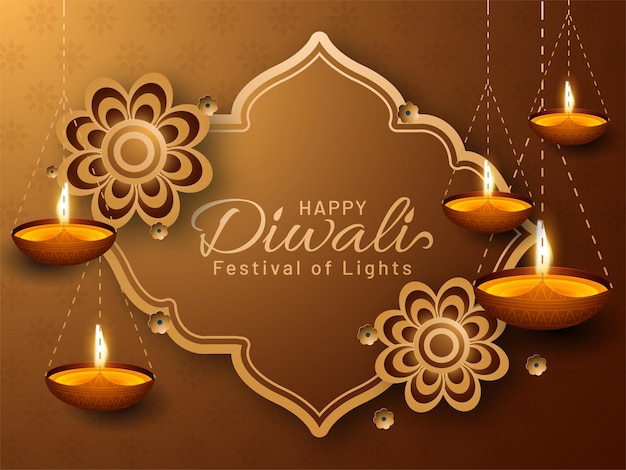 光のお祝いの幸せなディワリ祭。
