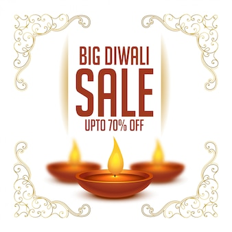 Happy diwali festival sale background with realistic diya