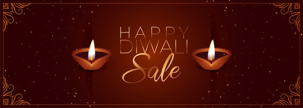 Happy diwali festival sale banner in brown color