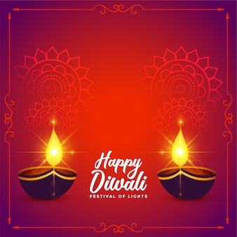Happy diwali festival wishes card with shiny diya