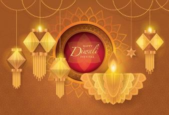 Фестиваль Счастливого Дивали с масляной лампой, бумага
