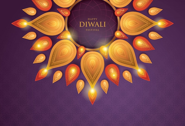 Happy diwali festival with oil lamp, paper art
