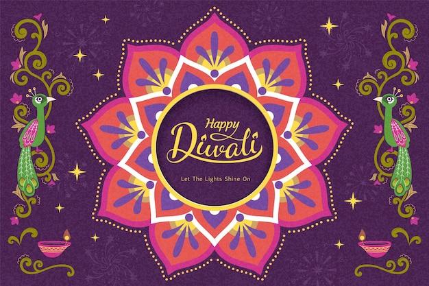 Happy diwali festival with rangoli