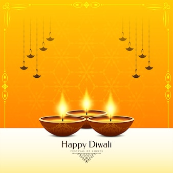 Happy diwali festival yellow color background