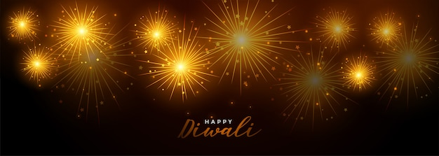 Happy diwali fireworks festival celebration banner