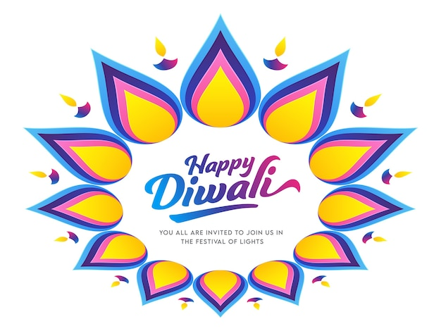 Happy diwali font on rangoli or floral pattern decorated with lit oil lamps (diya).