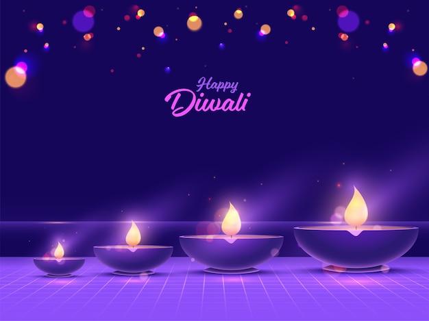 Happy diwali font with illuminated oil lamps (diya) on purple bokeh background.