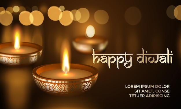 Happy diwali gold candle light indian greeting card lettering text