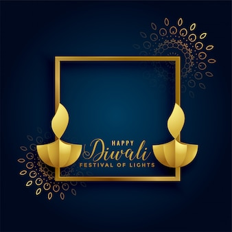 Happy diwali golden background with diya lamps