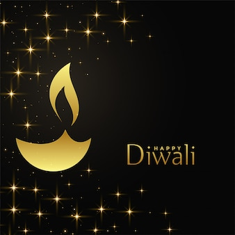 Happy diwali golden diya with sparkles background