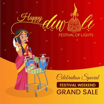 Happy diwali grand sale banner design