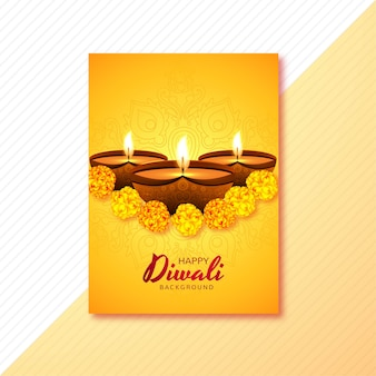 キャンドルと花で飾られた幸せなディワリのグリーティングカード