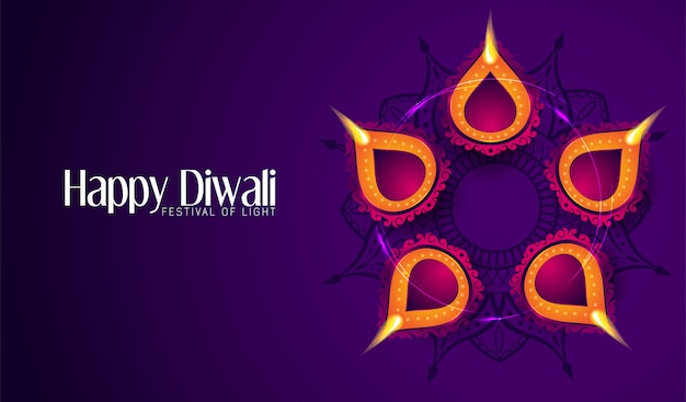 Happy diwali greeting card with a dark purple background
